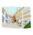 modern interior shopping center mall colorful vector image vector image