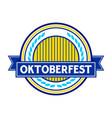 oktoberfest blue circular badge symbol logo design vector image vector image