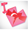 Origami paper I love Turkey heart card vector image