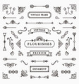 ornamental frame and ribbons set vector image vector image