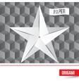 paper origami star icon on 3d cube vector image vector image