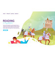 reading books landing page website template vector image vector image
