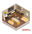 sawmill isometric composition vector image
