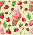 seamless pattern ice cream raspberry cherry vector image vector image