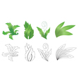 set of green and black plants vector image vector image