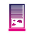 silhouette window with curtain blind open and vector image