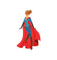 superhero woman character in blue costume with red vector image