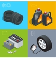 Tire service car auto repair icons flat set vector image vector image