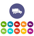 truck icons set color vector image vector image