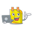 with laptop note paper character cartoon vector image