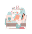 woman reading book on bed at home vector image