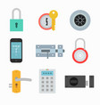 lock icons set in a flat style vector image