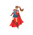 young superhero woman character in blue costume vector image