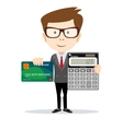 Businessman or Accountant with a Calculator vector image