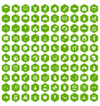 100 childhood icons hexagon green vector image vector image