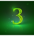 3 Green glowing number three vector image