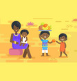 african woman holds baby and children with fruits vector image vector image