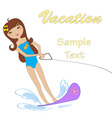 Attractive girl water skiing