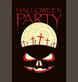 banner for halloween with horrid face and cemetery vector image vector image
