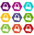 big padlock icons set 9 vector image vector image
