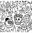 black and white seamless pattern with characters vector image vector image