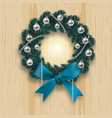 blue branch ate in the shape of a christmas wreath vector image vector image