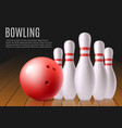 bowling banner template with white pins and red vector image