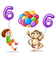boy and monkey with balloon number six vector image vector image