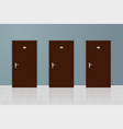 brown wooden doors on gray wall background vector image vector image