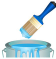 bucket full of paint and convenient rounded brush vector image vector image