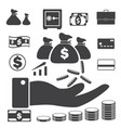 business finance icons set money and credit icons vector image