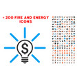 business idea bulb icon with bonus flame set vector image
