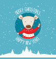 cartoon for holiday theme with bear on winter vector image