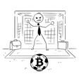 cartoon of businessman as soccer football goal vector image