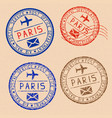 collection of paris postal stamps partially faded vector image vector image
