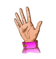 color female hand make gesture five fingers up vector image