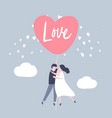 couple holding the string of flying heart balloon vector image
