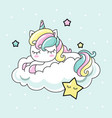 cute kawai rainbow unicorn sleeping on a cloud vector image