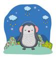 cute little penguin with earphones in the park vector image