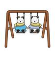 cute polar bears couple in swing vector image
