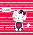 cute with funny cartoon cat vector image vector image
