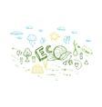 Ecology Energy Sketch Elements Set vector image