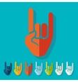 Flat design rock hand gesture vector image