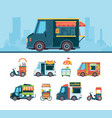food truck set delivery cars festival transport vector image vector image