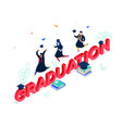 graduation concept - modern colorful isometric vector image vector image