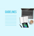 guidelines notepad page template with text space vector image