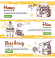 honey hand drawn banners set vector image vector image