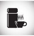 hot drink with thermos icon on white background vector image