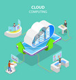 isometric flat concept cloud computing vector image