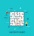 labyrinth quest flat concept vector image